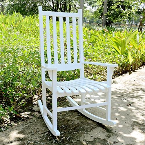 Merry White Porch Rocker/Rocking Wood