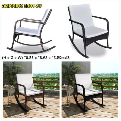 Rattan Outdoor Rocking Chair Wicker W/ Cushion Garden Patio