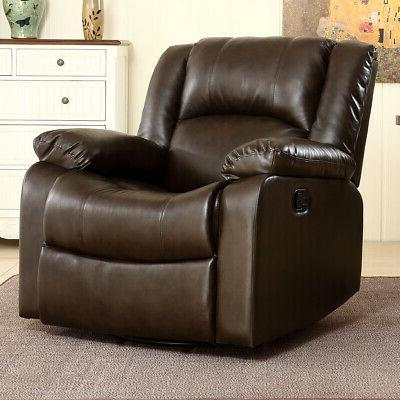 Recliner Chair Leather Room, Brown