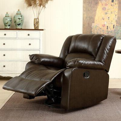 recliner and rocking swivel chair leather seat