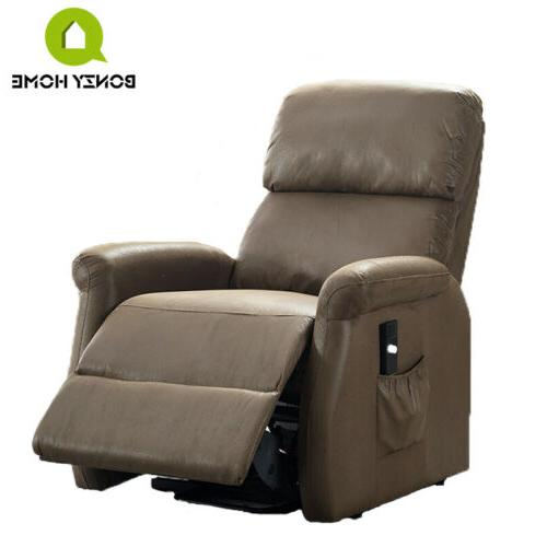 Recliner Rocking Leather Cushion Chair Brown