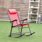 Red Outdoor Patio Headrest Folding Zero Gravity Rocking Chai