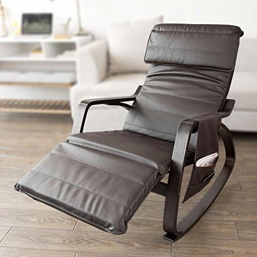 Haotian Comfortable Chair with Foot Rest Design, Lounge Chair, Removable Bag,FST20-BR,Brown