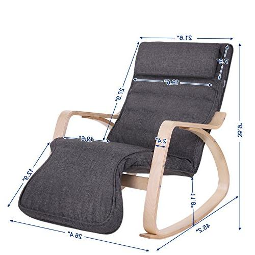 SONGMICS Rocking Chair, Lounge Chair, Recliners, Gliders with 5-Way Adjustable Natural Cushion