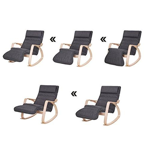 SONGMICS Relax Rocking Chair, Lounge Chair, Recliners, with Footrest, Natural with Cushion ULYY42GY