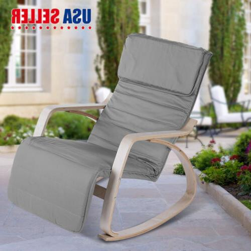 ergonomic wood rocking chair lounge removable cushion