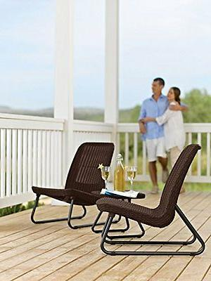 Keter Rio All Weather Patio Garden Conversation Chair Table Set