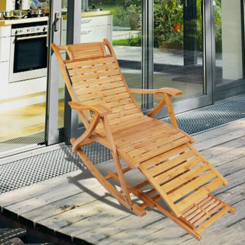 Heavy Duty Folding Bamboo Rocking Chair Adjustable Lounge Re