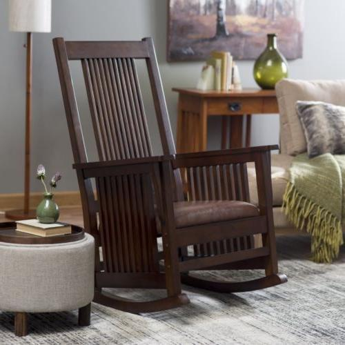 rocking chair mission style leather seat wood