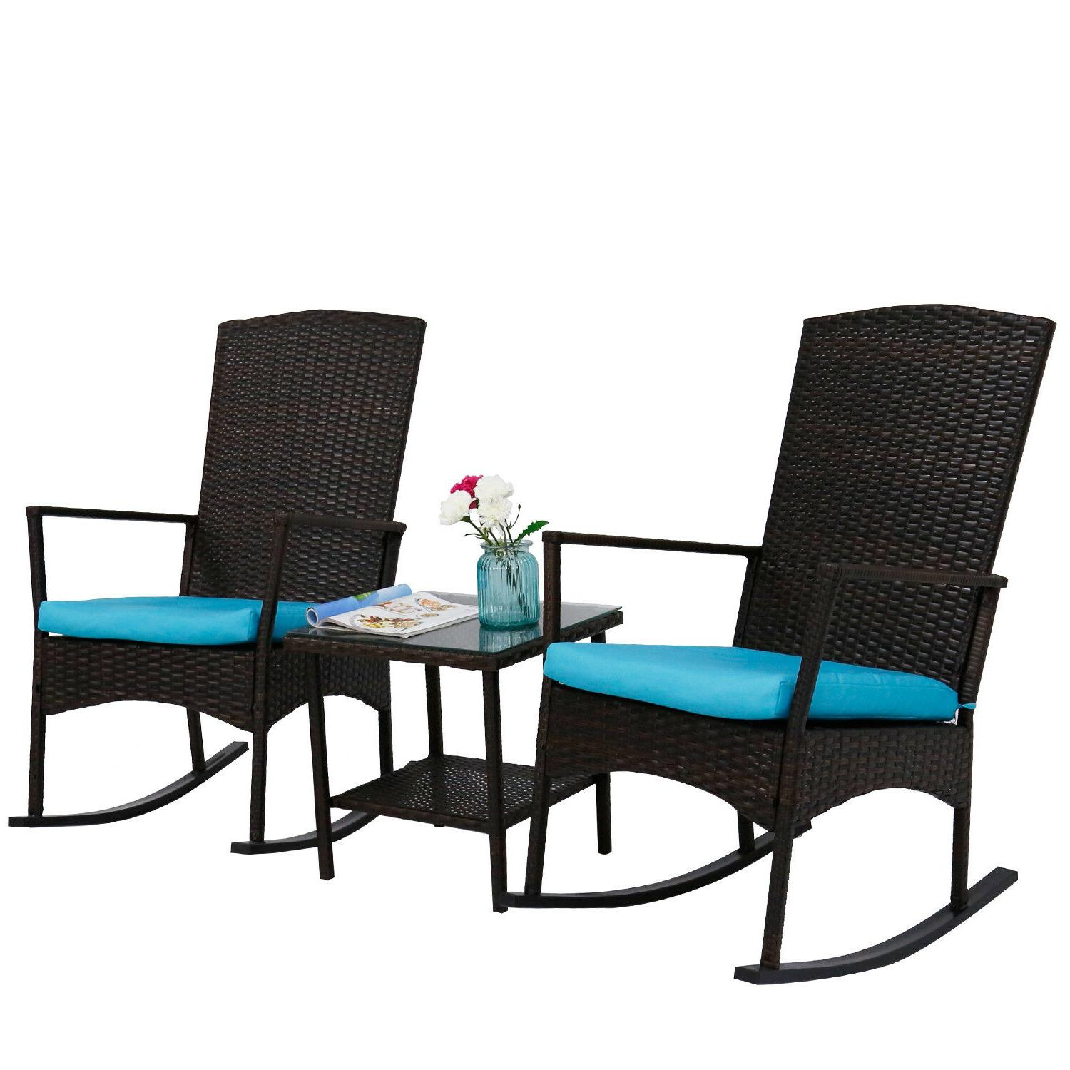3 Patio Furniture Chair Coffee Cushioned