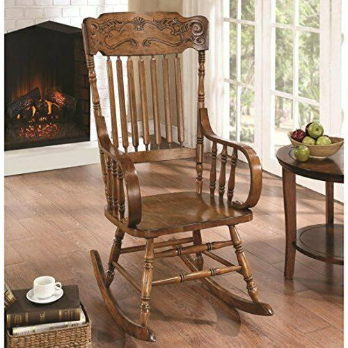 Rocking Chair with Headrest Brown