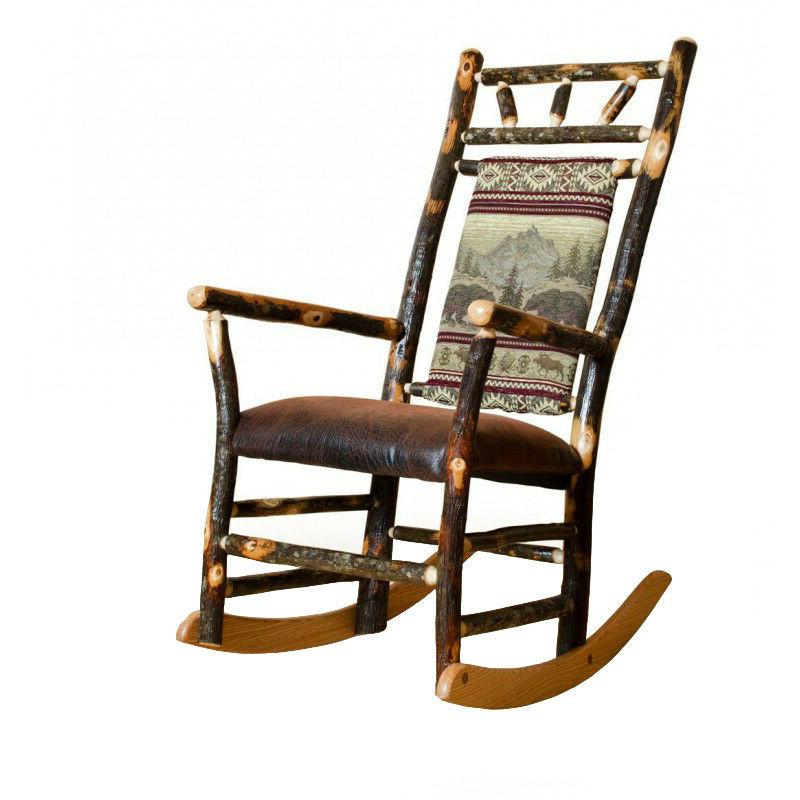 Rustic Hickory Fabric Back Rocking Chair - 9 Fabric Choices