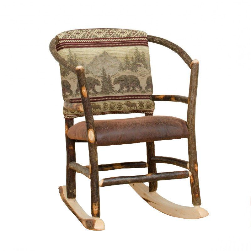 Rustic Hickory Hoop Rocking Chair - 9 Fabric Options - Amish