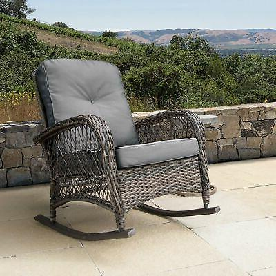 salerno outdoor wicker rocking chair with cushions