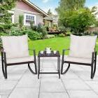 3 pcs Home Patio Rocking Outdoor Rattan Chair Set with Cushi