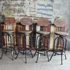 SET OF 4 Vintage Bar Stool Adjustable Wood Metal Pub Kitchen
