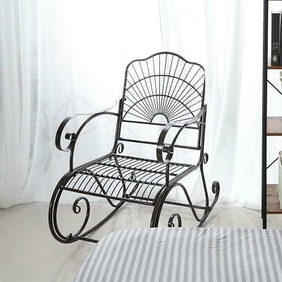 Outdoor Rocking Chair Wrought Iron Porch Rocker Metal Extra