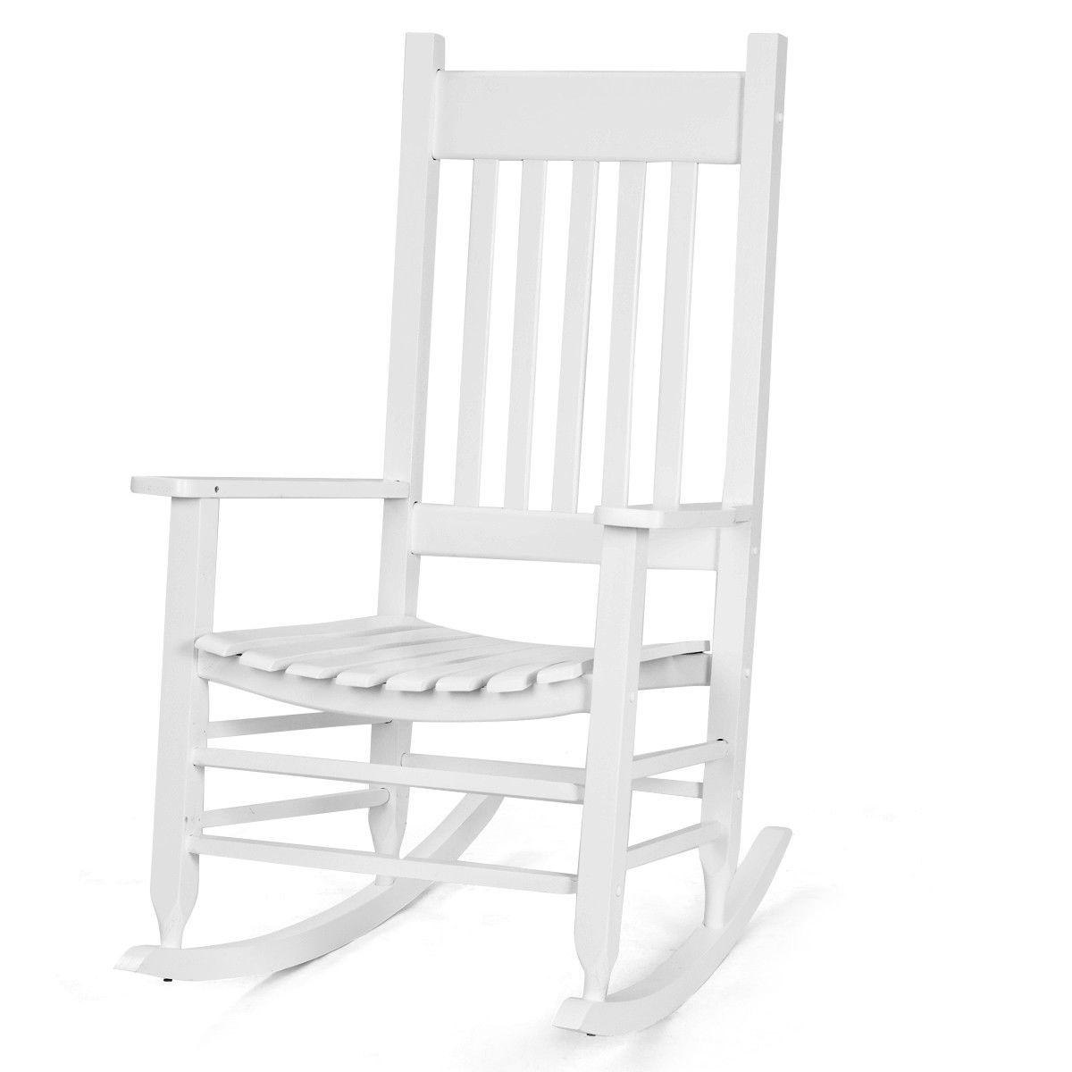 Solid Rocking Chair Porch Deck Backyard White