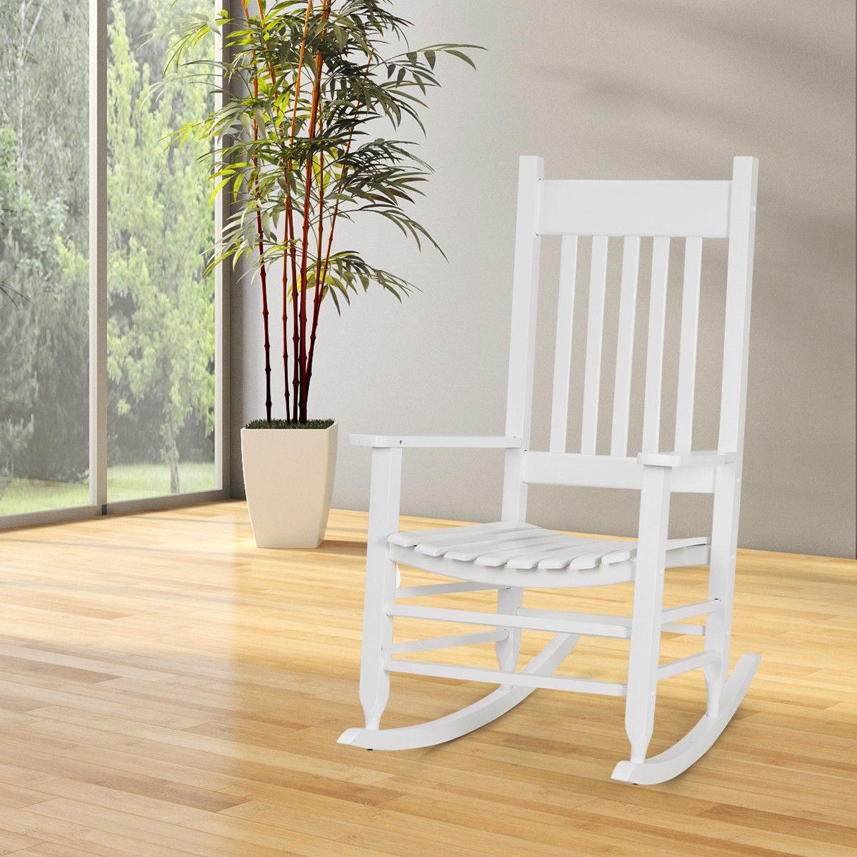 Solid Wood Chair Porch Deck Patio Backyard White