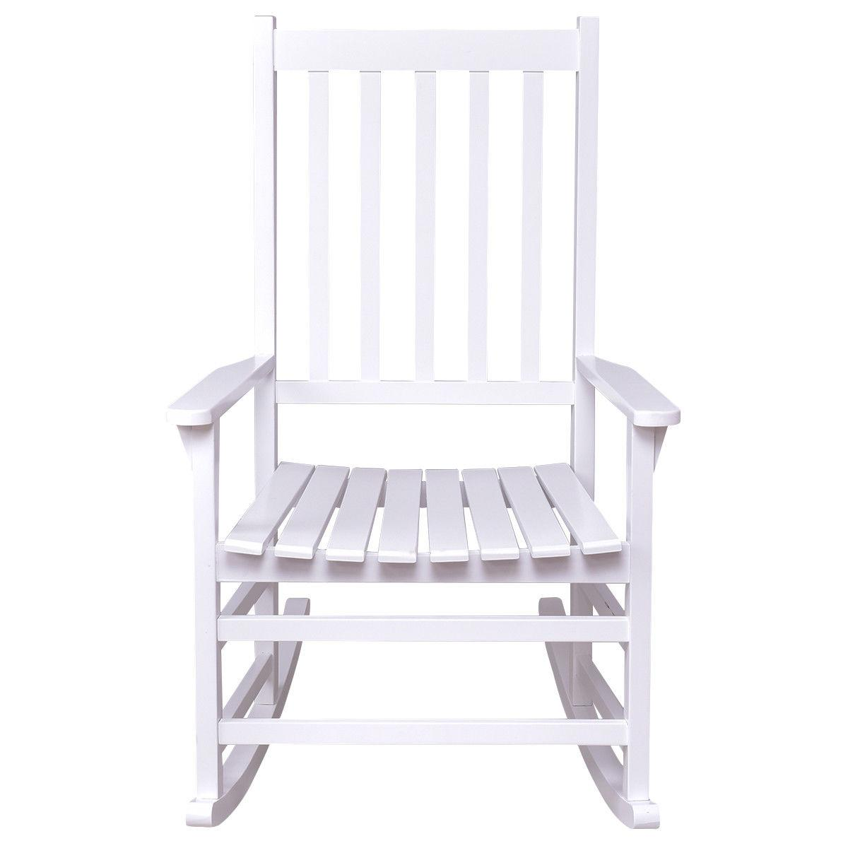 Solid Wood Chair Rocker Indoor Patio Furniture White