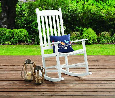 Solid Wood Slat Rocking Chair Patio Outdoor