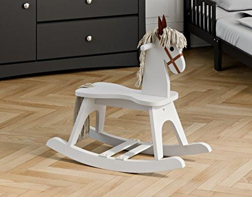 Storkcraft Rocking White, Kids Rocking Horse Chair Ride Toddlers and Small for