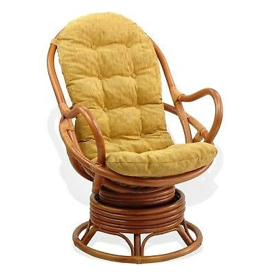 Thick Cushion Swivel Rocking Chair Brown