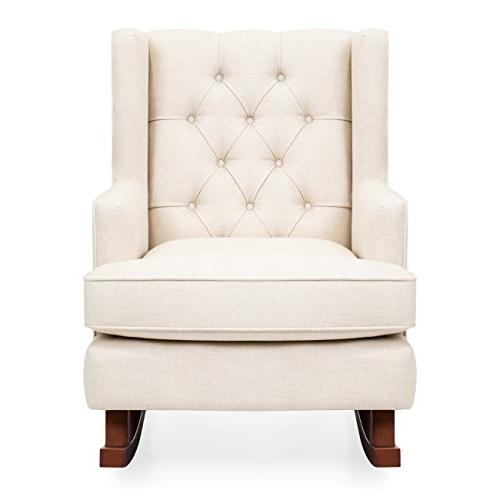 Best Choice Upholstered Wingback Rocking Accent Chair, Room, w/Wood Frame - Beige