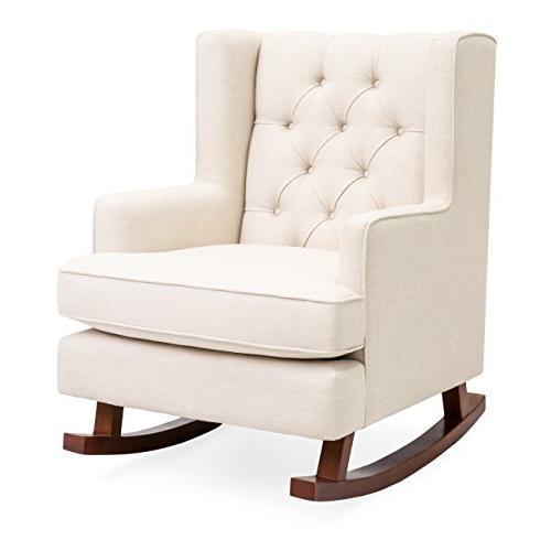 tufted upholstered wingback rocking accent