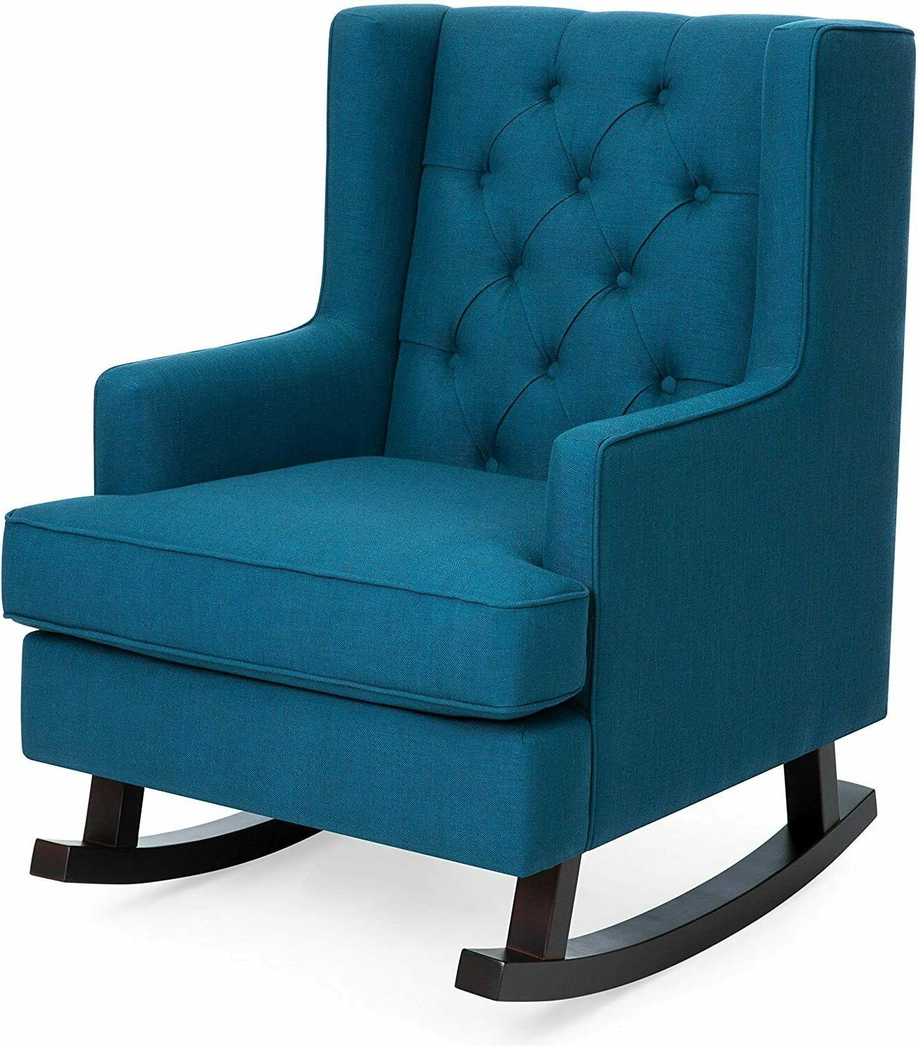 Upholstered Rocking Accent Chair Living Room w/Wood