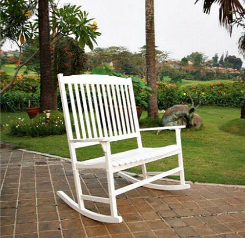White Outdoor Double Rocking Chair 2-Person Wooden Porch Gar