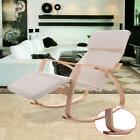 Off White Rocking Lounge Chair Recliner W/Adjustable Footres