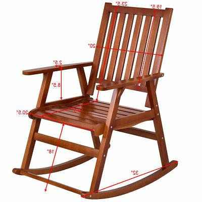 Wood Rocking Chair Porch Rocker Indoor Outdoor Patio