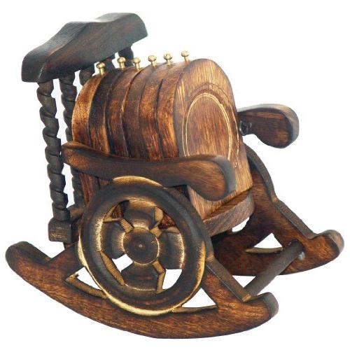 wooden antique hand crafted coasters