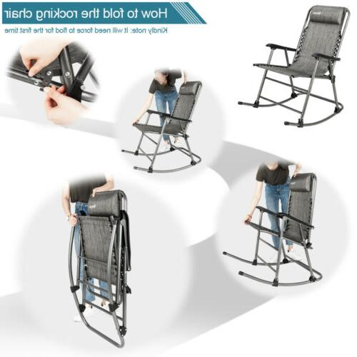 Zero Gravity Chair Folding Rocking Chair Pillow Patio