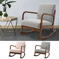 Linen Look Rocking Chair Glossy Wood Curved Legs Padded Livi