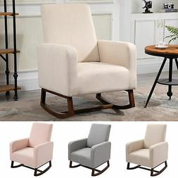 Linen Look Rocking Chair Solid Wood Curved Legs Padded Livin