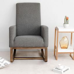 Fabric Upholstered Rocking Chair Armchair Padded Seat Living
