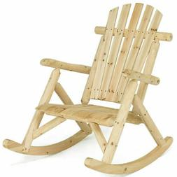 Log Rocking Chair Wood Single Porch Rocker Lounge Patio Deck