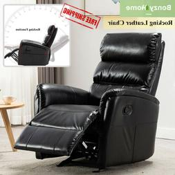 manual chair recliner leather rocking sofa pad