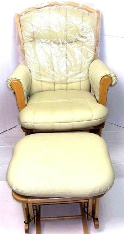 Dutailier Maple Glider & Ottoman Maple Wood Beige Fabric Roc