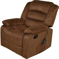 Relaxzen Massage Rocker Recliner with Heat and USB, Brown Mi