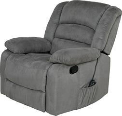 Relaxzen Massage Rocker Recliner with Heat and USB, Gray Mic