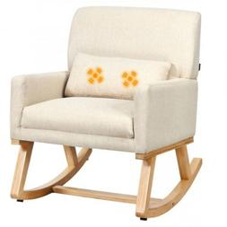 Massage Rocking Chair Upholstered Armchair With Lumbar Suppo