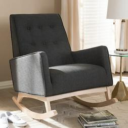 Mid-century Fabric Rocking Chair by Baxton Studio Charcoal M