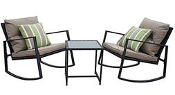 moana outdoor 3 piece rocking wicker bistro