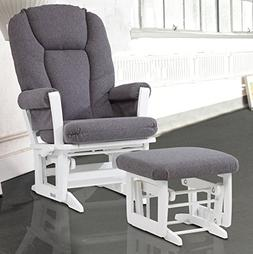 New Dutailier Modern Glider Rocker and Ottoman Combo - White