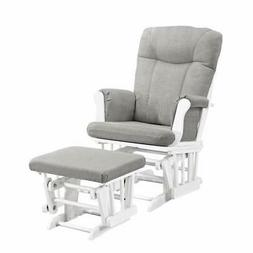 Angel Line Monterey Glider  Ottoman, White with Gray Cushion