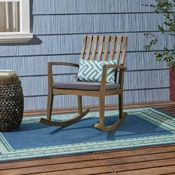 Muriel Outdoor Acacia Wood Rustic Style Rocking Chair with C
