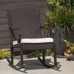 Muriel Outdoor Wicker Rocking Chair with Cushion